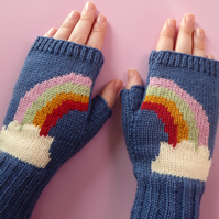 Colourful Rainbow Fingerless Gloves, knitted wool wristwarmers