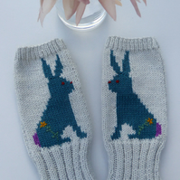 Knitted Fingerless gloves with Embroidered Rabbit Design