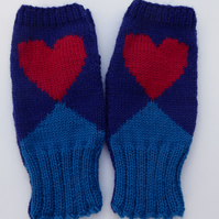 Love Heart Knitted Fingerless Gloves, Handwarmer