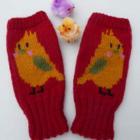Fingerless gloves, wool knit with Bird design