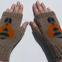 Bumble Bee Wool Knit Fingerless Gloves