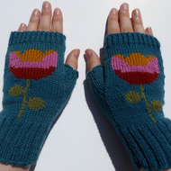 Scandinavian Flower Wool Knit Fingerless gloves