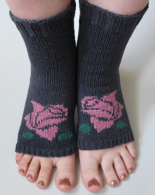 Rose Flower Yoga socks, Toeless socks, Dance socks, Pedicure socks