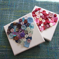 Button Art Heart Collage Pictures 10x10 - choice of colours made to order