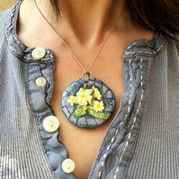 Yellow Primrose - Hand Painted Pendant Necklace