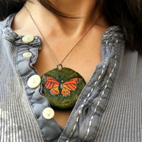 British Butterfly - Hand Painted Pendant Necklace