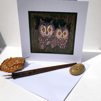 Owls in Hollow Tree - Blank Greeting Card