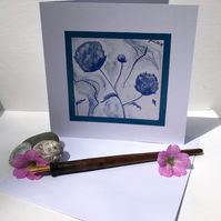 Blue Floral Design - Blank Greeting Card