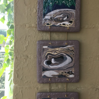 Triptych Wall Hanging - Moon and Sea