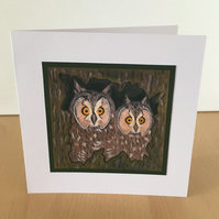 Any Occasion Blank Greeting Card - Peeping Owls in Hollow Tree