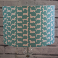 Turquoise Dachshund Drum Lamp Shades Sausage Dog Fabric Lampshade