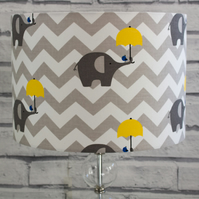 Handmade White Lined and Yellow, Grey and White Fabric Lampshade Lightshade Grey