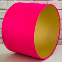 Handmade Metallic Brushed Gold Lined Hot Pink Fabric Lampshade Lightshade