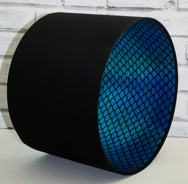 Black Lampshade lined with Blue Mermaid Scales Fabric