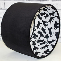 Handmade Black Cat Lampshade with Black Cotton