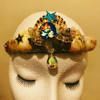 Aerial Little Mermaid Natural Sea Shell Tiara Crown