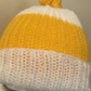 Yellow and White Child's Winter Beanie Hat