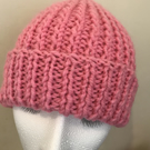 Chunky Pink Wool Beanie, Hand Knitted by Joan.