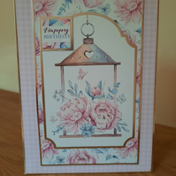 Handcrafted Birthday Cards - Pink Floral Cards - Female Birthday Cards