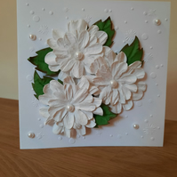 Handcrafted Cards - Handmade Thinking of You cards - Handmade White Floral Card