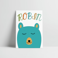 New Baby Boy Print, New Baby Boy Gift, Baby Name Print (A4)