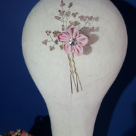 Hairpin with blush pink blossom and Swarovski crystals bead detail