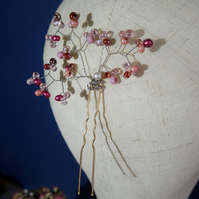 Hairpin with blush pink Czech glass bead clusters