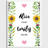 Personalised Beautiful Baby & Child Birth Date Print