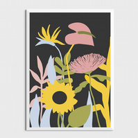 Bold Botanical Abstract Print