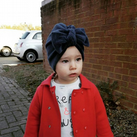 Navy velour baby turban - Baby winter hat