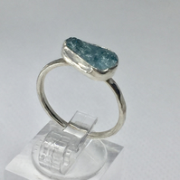 Aquamarine gemstone sterling silver stackable ring.
