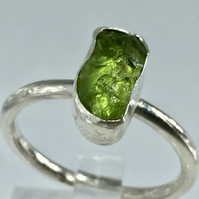Raw Peridot Sterling Silver Gemstone Ring