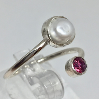 Ruby and baroque pearl open style sterling silver ring