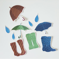 Wellies and Umbrellas - Stickers - Planner - Rain - Autumn - Fall - Winter