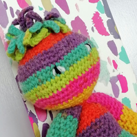 Handmade unique rainbow crochet alien 'One of a kind' cuddly toy