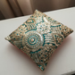 Embroidered  Decorative Cushion - Gold, Jade, Green, India, Saree, Sequin