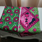 2xAfrican Print Fabric Panels  - Make it,Craft,23x9in,Sew,   Black, Pink, White