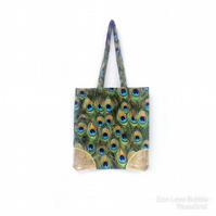 Peacock Fabric Shopper Tote Bag.