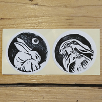 Lino Print Hare Sticker set