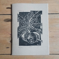 Lino print A5 Apple Branch notebook