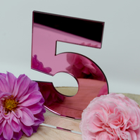 Pink Acrylic Mirrored Wedding Table Numbers - Wedding Table Numbers