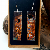 Upcycled Lightweight Tin Klimt Lovers Long Earrings with 925 Sterling Wires