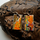 Klimt Art Earrings with 925 Sterling Ear Wires Disc or Rectangular