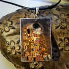 Upcycled Klimt The Kiss Pendant with 925 Sterling Silver Bail