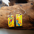 Upcycled Klimt Peacock Earrings 925 Sterling Silver Wires Disc or Rectangular