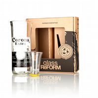 Upcycled Corona Extra Glass & Shot set