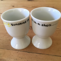Sunshine in a shell egg cup set