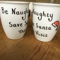 Naughty and Elfish Christmas mugs