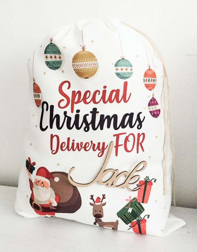 Personalized Christmas Gifts.Personalized Christmas Eve Bags Christmas Gifts For Kids With Wooden Name Tag