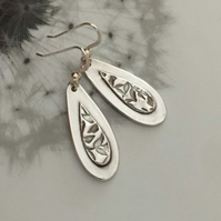 Silver teardrop earrings, Silver earrings, Earrings
